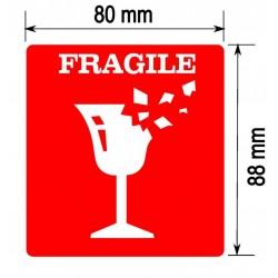 Etykiety FRAGILE 200 szt. CZERWONE