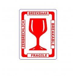 Etykiety samoprzylepne FRAGILE Wielojęzykowe Międzynarodowe 80 x 107 10.000 szt.